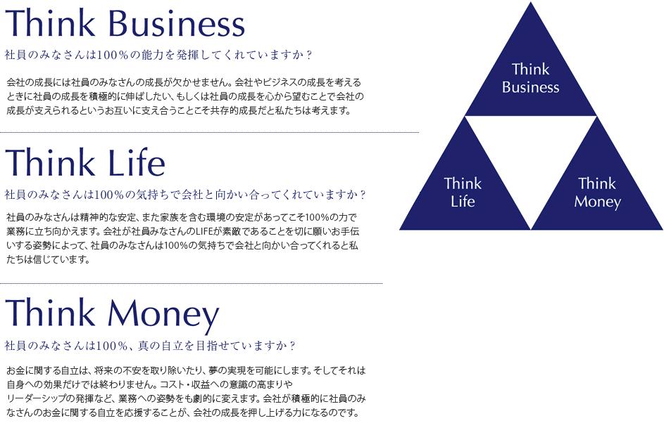 Think Business 社員のみなさんは100%の能力を発揮していますか? Think Life 社員のみなさんは100%の気持ちで会社と向かい合ってくれていますか? Think Money 社員のみなさんは100%、真の自立を目指せていますか?
